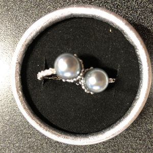 Gem Empourium Jewelry - 14K White Gold Plated Gray Pearl & Crystals Hoops